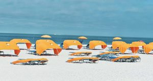 beach canopies on beach