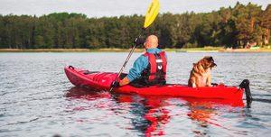 man and dog on a kayak