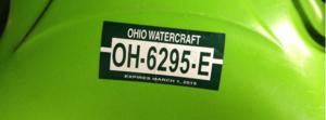 ohio kayak registration plate