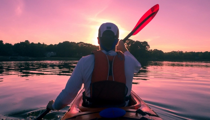 kayaking with a kayak paddle