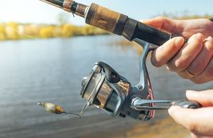 spin cast reel on fishing rod