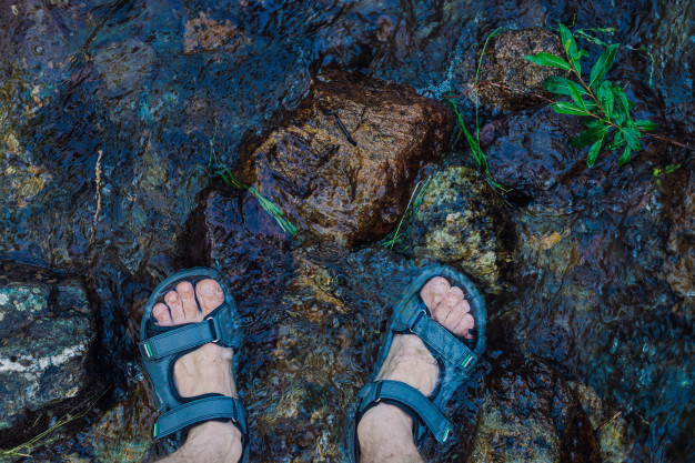 hiking sandals in water