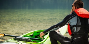 wet suit on kayak