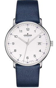 Junghans Form A Automatic Date Matte Silver Dial Blue Leather Strap